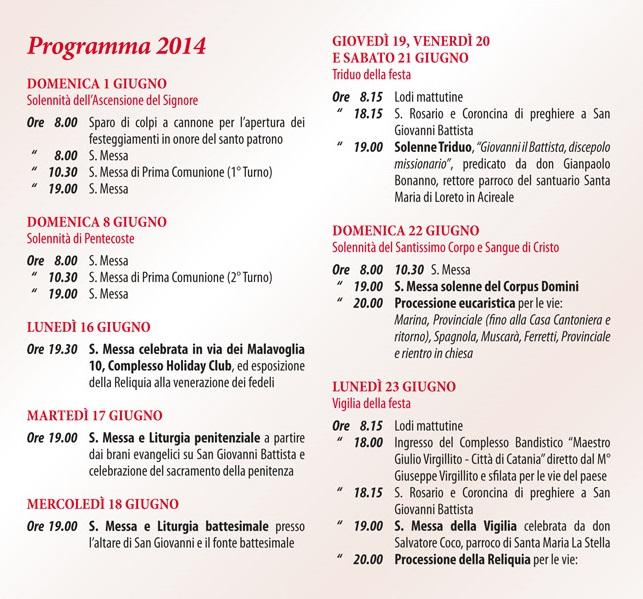 Solenni Festeggiamenti in onore di San Giovanni Battista Patrono di Acitrezza Programma 2014_03