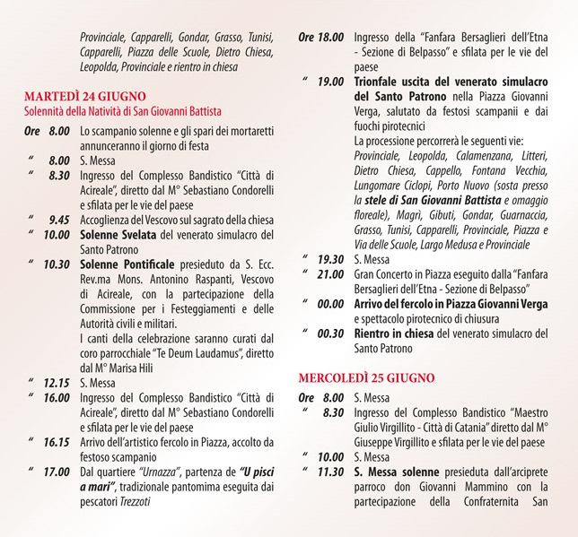 Solenni Festeggiamenti in onore di San Giovanni Battista Patrono di Acitrezza Programma 2014_04