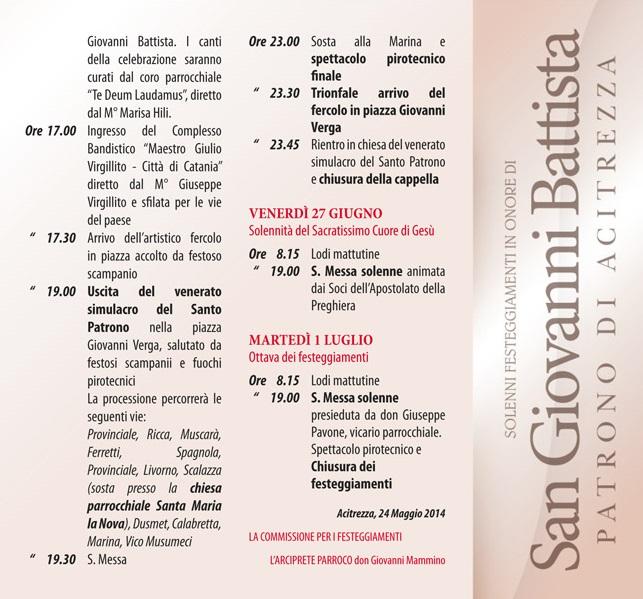 Solenni Festeggiamenti in onore di San Giovanni Battista Patrono di Acitrezza Programma 2014_05