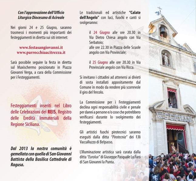 Solenni Festeggiamenti in onore di San Giovanni Battista Patrono di Acitrezza Programma 2014_06