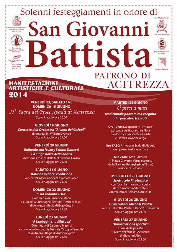 Solenni Festeggiamenti in onore di San Giovanni Battista Patrono di Acitrezza Programma Eventi 2014
