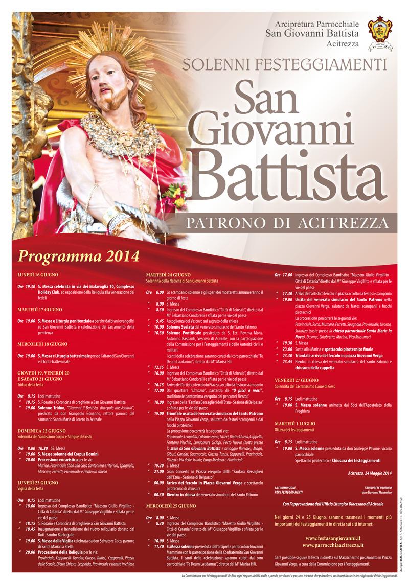 Solenni Festeggiamenti in onore di San Giovanni Battista Patrono di Acitrezza Programma Manifesto 2014