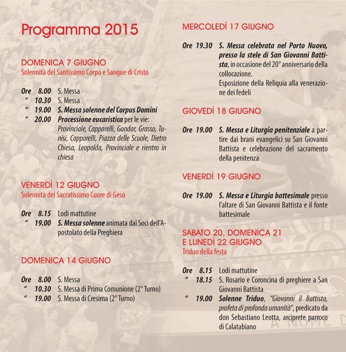 Solenni Festeggiamenti in onore di San Giovanni Battista Patrono di Acitrezza Programma 2015_03