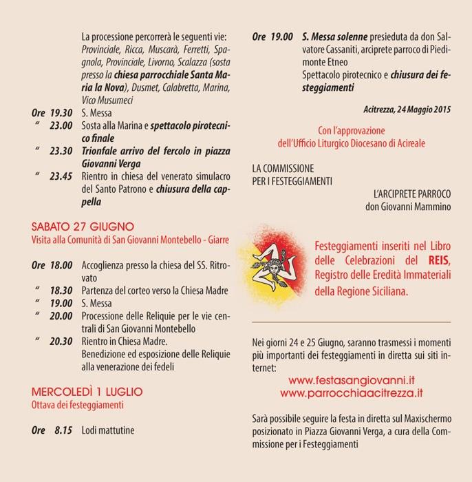 Solenni Festeggiamenti in onore di San Giovanni Battista Patrono di Acitrezza Programma 2015_06
