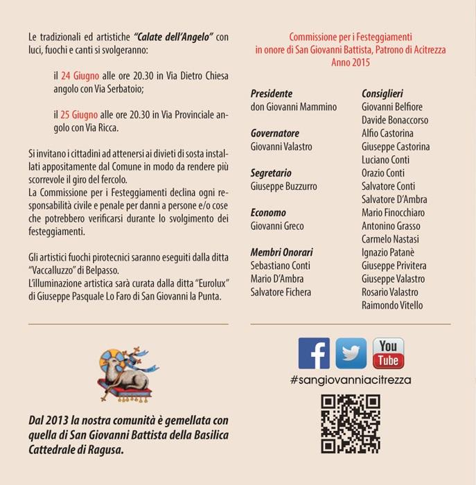 Solenni Festeggiamenti in onore di San Giovanni Battista Patrono di Acitrezza Programma 2015_07