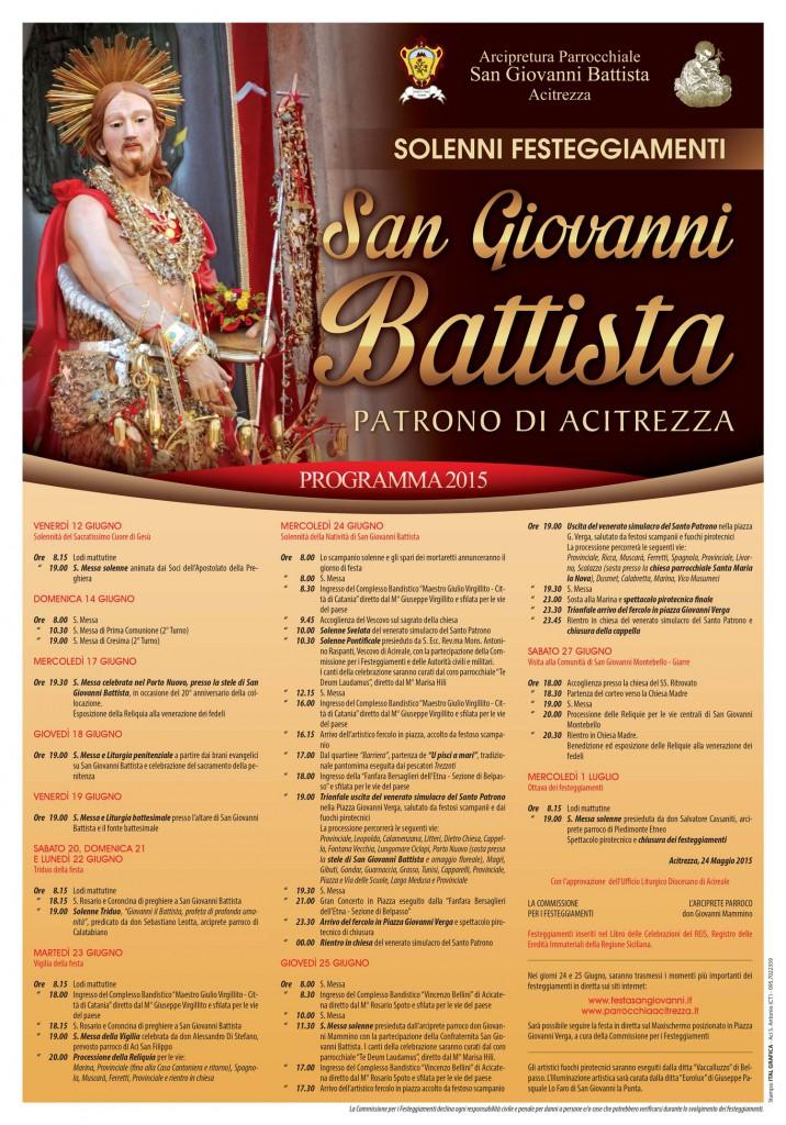 Solenni Festeggiamenti in onore di San Giovanni Battista Patrono di Acitrezza Programma Manifesto 2015