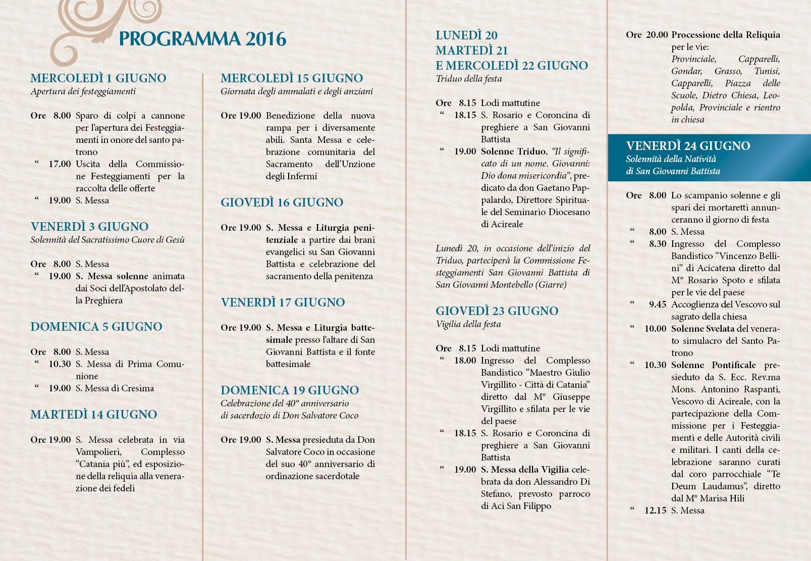 Solenni Festeggiamenti in onore di San Giovanni Battista Patrono di Acitrezza Programma 2016_03