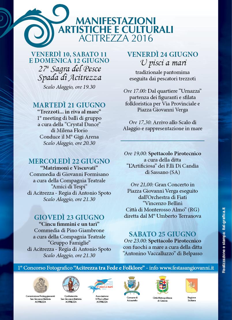 Solenni Festeggiamenti in onore di San Giovanni Battista Patrono di Acitrezza Programma 2016_09